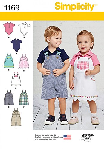 Simplicity Toddlers Sewing Pattern 1169 Bodysuits, Dungarees ...
