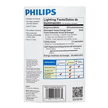 Philips 421172 40 Watt R20 Halogen Flood Light Bulb Dimmable Incandescent Bulbs Amazon Com