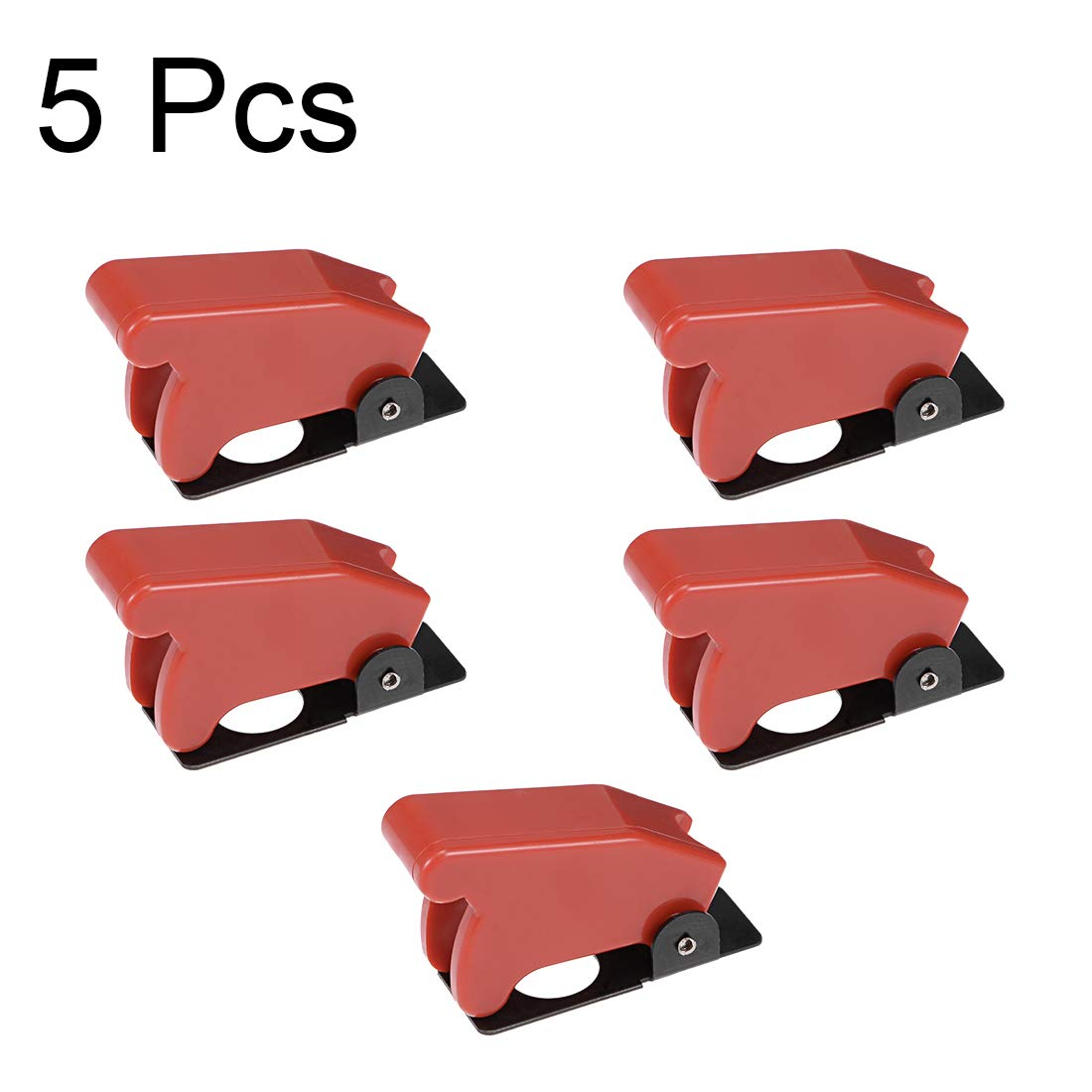 uxcell Red Plastic Waterproof Spring Loaded Flip Security Cover Cap Guard for 12mm Toggle Switch 5pcs