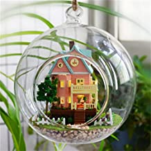 WYD DIY Mini Series Glass Ball Wooden Dollhouse Miniature Dolls House LED Lights Assembly Kit 3D Puzzle Crafts Toy Creative Children Birthday Gifts (Mini Bungalow)