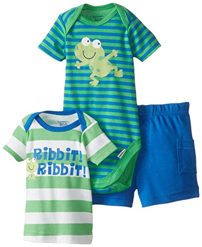Gerber Baby Boys' 3 Piece Bodysuit Frog Shirt Short Set, Green, 6 9 Months