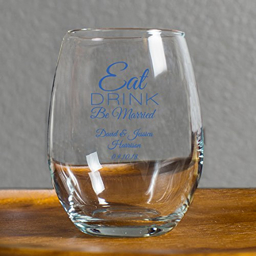 144 Pack Eat Drink Be Married 9 oz Wine Glass, Personalized Stemless Wine Glass, Blue, Housewarming Gifts for New Home Best Friend Surprise Bride to Be