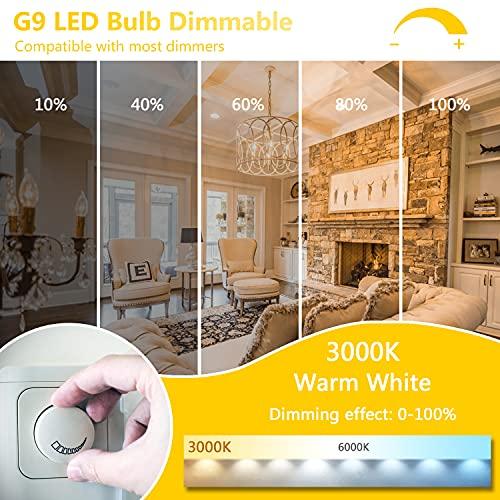 ONSTUY G9 LED Dimmbar Glühbirne,4W G9 LED Lampe,Ersatz 40W G9 Halogenlampe,3000K Warmweiß,400Lm,AC 220-240V,360 Grad Winkel,Kein Flackern,5er Pack