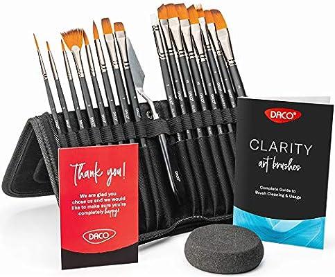 Amazon.com: Daco - Juego de 15 pinceles de pintura acrílica ...