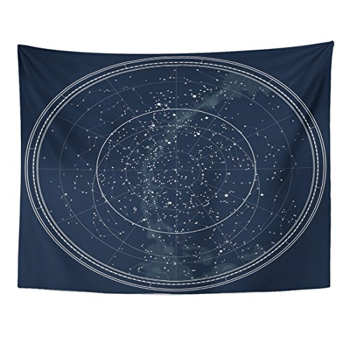 TOMPOP Tapestry Astronomical Celestial Map of the Northern Hemisphere Detailed Chart Night Black Ink This File Also Has Home Decor Wall Hanging for Living Room Bedroom Dorm 60x80 - Blanket Northern Striped