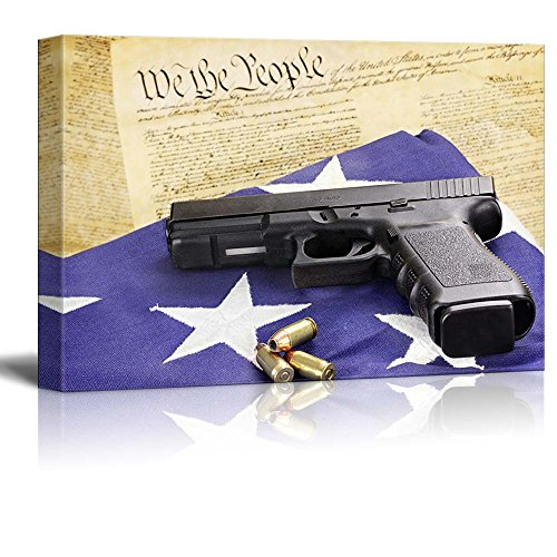 A 45 Caliber Handgun and Ammunition Resting on a Folded Flag Against the United States Constitution Wall Decor