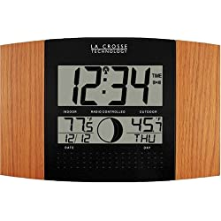 La Crosse Technology WS-8117U-IT-OAK Atomic Wall Clock with Outdoor Temperature