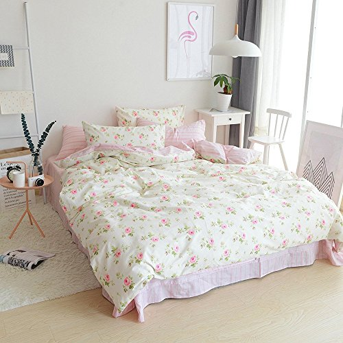 ORUSA Reversible Duvet Cover Set with 2 Pillow Shams for Kids Rose Flowers Plant Pattern 3 Piece Green Girls Bedding Set(Full/Queen,Style - Set Piece 2 Roses