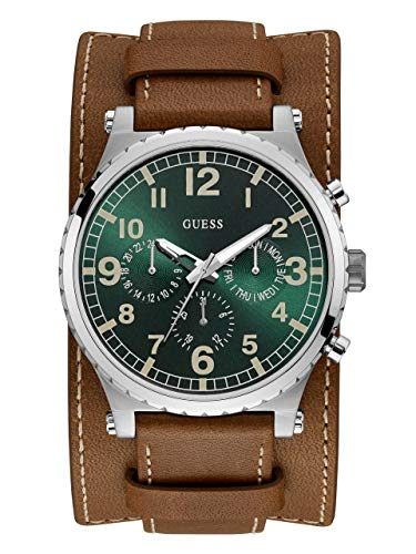 (GUESS Men's Stainless Steel Quartz Leather Calfskin Strap, Brown, 22 Casual Watch (Model: U1162G1))