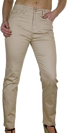 Ice 1477 1 Pantalones Chinos Jeans Extensibles Beige Brillante Para La Mujer Tallas Grandes 38 Amazon Es Ropa Y Accesorios