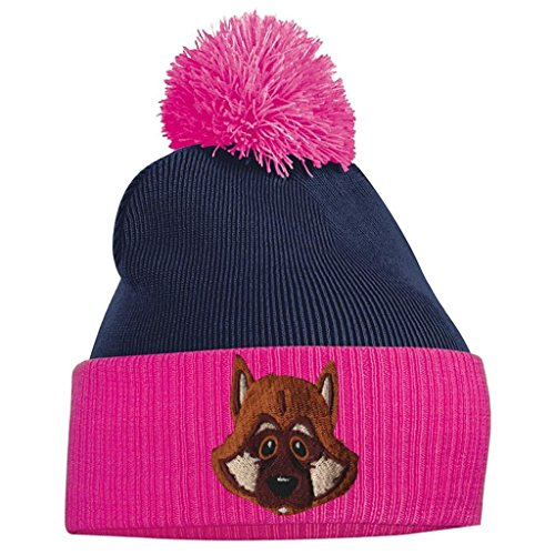 Tidy Bang Alsatian German Shepherd Fuschia Clothing and French Beanie Pom Navy Pom Fr4ndrcR