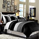 8 Pieces Black White Grey Luxury Stripe Comforter (86''x88'') Bed-in-a-bag Set Full or Double Size Bedding