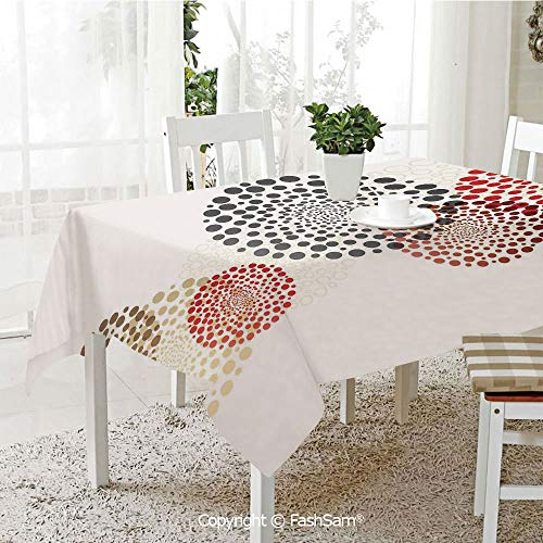 FashSam 3D Print Table Cloths Cover Modern Cool Decoration with Dots Like and Circled Design Artwork Waterproof Stain Resistant Table Toppers(W55 xL72) ()