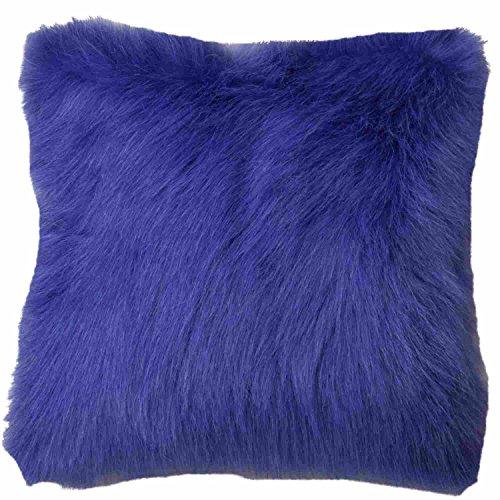 Fuzzy Purple Faux Fur Throw Pillow Accent Toss Cushion