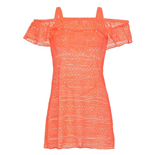 DAYU Big Girls Crochet Cover Up Dress Ruffle Off Shoulder Beachwear Swimsuits, Orange, - Sun Ups Clothing Cover Children