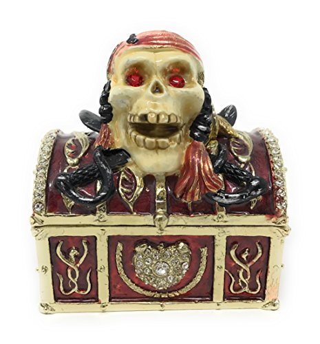 Treasure Box Enameled (Kubla Crafts Enameled Pirate Skull Treasure Chest Trinket Box, Accented with Austrian Crystal, 2.75 Inches Tall)