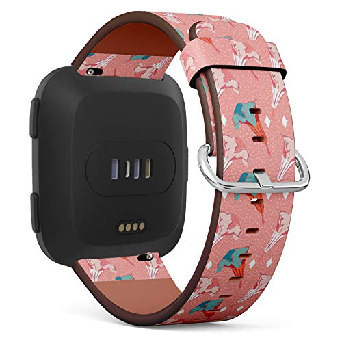 [ Compatible Fitbit Versa ] Replacement Leather Band Bracelet Strap Wristband Accessory // Stylized Datura Angels Trumpet Flower