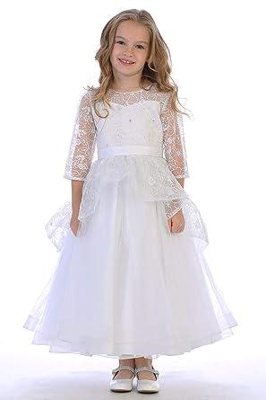 b2aa7610d56 Amazon.com  Swea Pea   Lilli SP630 White Shiny Lace Overlay Dress ...