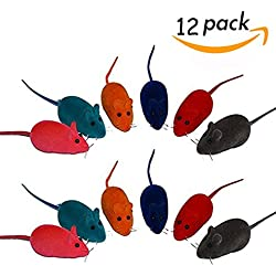 Set of 12 Cat Toys Mice with Removable Squeaky