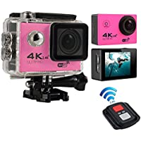 niceEshop(TM) 4K HD Wifi Action Camera 2.0 Inch 170 Degree Wide Angle Lens Action Camera WIFI 4k Waterproof Sports Action Camera, Rose Red