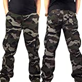 WEUIE Mens Pants Hot Men Camouflage Pocket Overalls Casual Pocket Sport Work Casual Trouser Pants (40, Army Green)