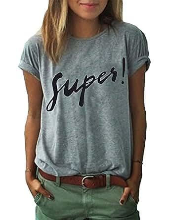 Haola Women's Summer Street Printed Tops Funny Juniors T Shirt Short Sleeve Tees Grey S