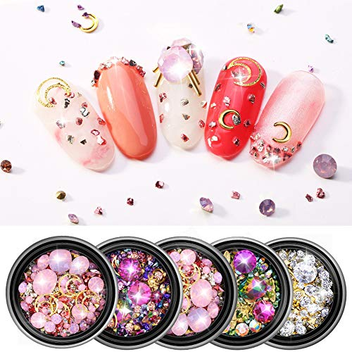 (Nail Art Crystal Rhinestones 5 Boxes Mix Star Moon Nail Studs Diamonds Beads Manicure Jewelry Glitter Appliques for Women Girls Nails 3D DIY Craft Decorations)