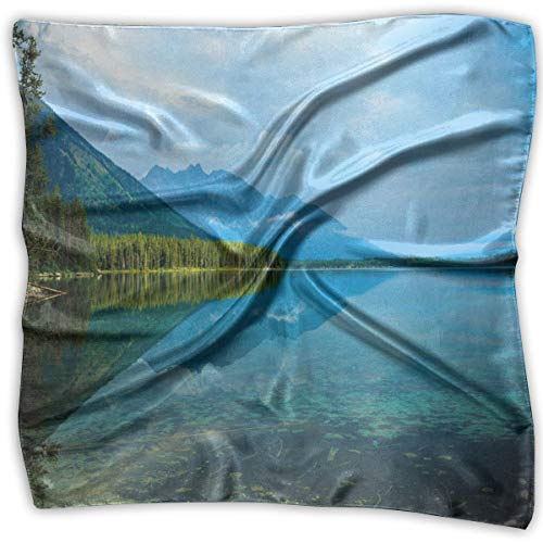 Bandana Head and Neck Tie Neckerchief,Leigh Lake Landscape With Amazing Sky And Reflections On Calm Water 23.6IN