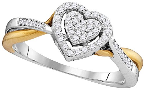 10kt Two-tone Gold Womens Round Diamond Heart Love Ring 1/5 Cttw by JawaFashion