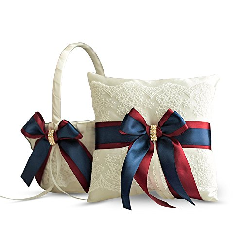 Alex Emotions Ivory Ring Bearer Pillow and Basket Set | Lace Collection | Flower Girl & Welcome Basket for Guest | Handmade Wedding Baskets & Pillows (Burgundy Navy Blue) ()