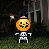 Joiedomi Halloween Inflatable Blow Up Pumpkin Skeleton with a Witch Hat for Halloween Outdoor Decoration (5 ft Tall)
