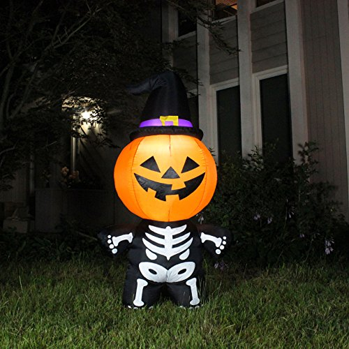 [Joiedomi Halloween Inflatable Blow Up Pumpkin Skeleton with a Witch Hat for Halloween Outdoor Decoration (5 ft Tall)] (Outdoor Witch Decorations)