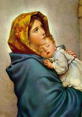 - Virgin Mary and Child Jesus POSTER print A4 Madonna of the Streets picture Blessed Mother image Holy Mary painting Catholic Christian Religious Holy Wall Art Decor Gift for Home Room Kids Children