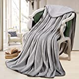 Fleece Blanket 330 GSM Soft Warm Throw for Bed or Couch by Fairyland, Queen Size, Grey