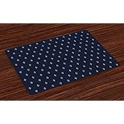 Ambesonne Indigo Place Mats, Stylized Square Shapes on Dark Blue Backdrop Navy Inspired Pattern Print, Washable Fabric Placemats for Dining Room Kitchen Table Decor, Dark Blue and White