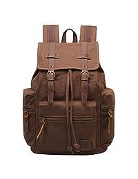 Hynes Eagle Women Men Vintage Leather Canvas Bag Backpack Outdoor Rucksack Daypacks Coffee