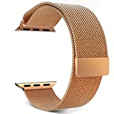 MoKo Apple Watch Band, Milanese Loop Stainless Steel Bracelet Smart Watch Strap for iWatch 38mm All Models with Unique Magnet Lock, No Buckle Needed (Not Fit iWatch 42mm Version 2015) – Brass Gold