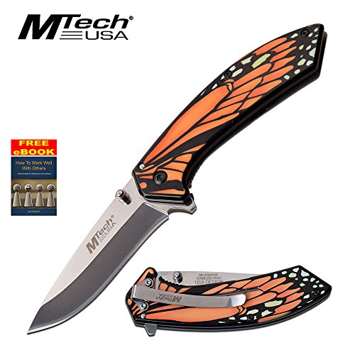 Mtech Orange Monarch Butterfly Spring Assisted Assist Knife Knives #A1005OR + free eBook by OnlyUS
