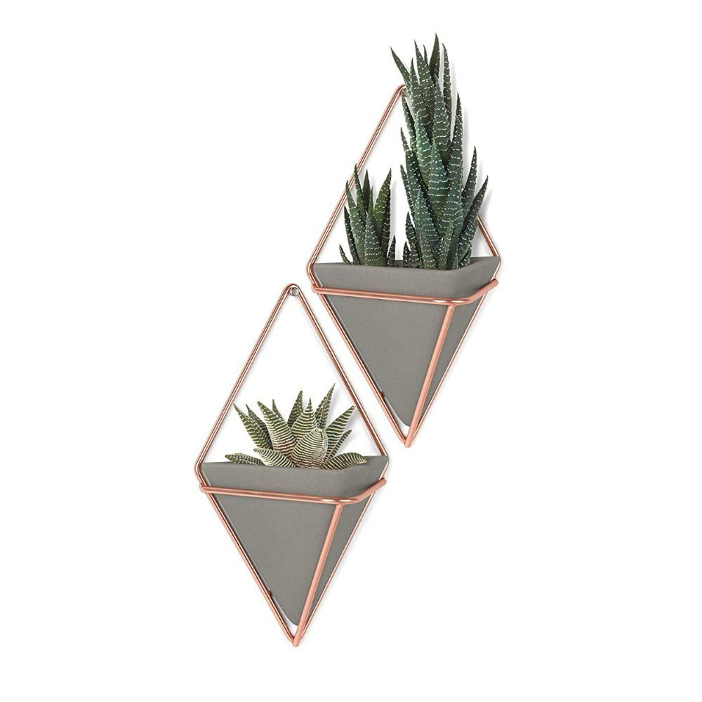Umbra Trigg Hanging Planter & Geometric Wall Decor (Small, Set of 2) - Great For Succulent Plants, Air Plant, Mini Cactus, Fake Plants and More, Concrete Resin/Copper product image