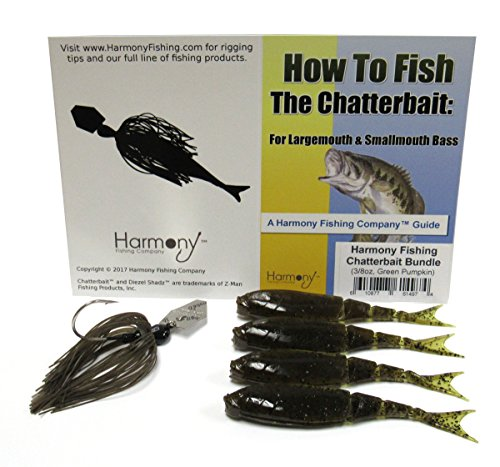 Harmony Fishing Company Chatterbait Kit - Z-Man 3/8oz Chatterbait + Z-Man Razor ShadZ + How to Fish The Chatterbait Guide (Green Pumpkin)