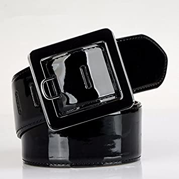 YANGFEIFEI-PD Cinturón muy elegante La cubierta de la correa ancha de cuero chica Embellecedor anorak Down Jacket Black Belt cinturón ancho de otoño e ...
