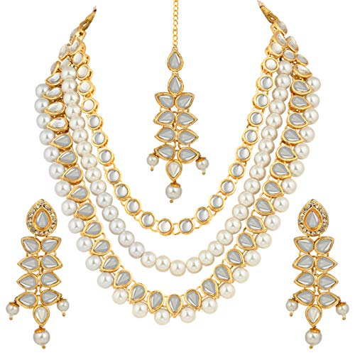 Aheli Multi Layered Faux Kundan Beaded Necklace Earrings Maang Tikka Indian Ethnic Bollywood Jewelry Set for Women