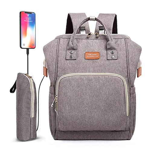 Diaper Bag Backpack, Waterproof Nappy Changing Backpack with Bottle Insulated Pocket for Mom/Dad, Multifunction Travel Backpack Bag with Stroller Straps (Grey)