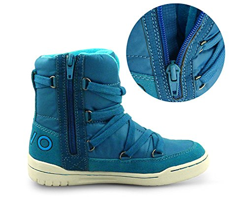 iDuoDuo Kids Casual Short Shaft Boots Side Zipper Waterproof Snow Boots Blue 13 M US Little Kid by iDuoDuo (Image #3)