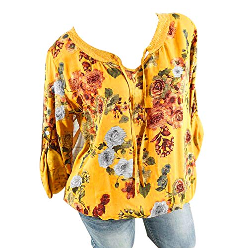 Plus Shirt Col Chic Manches Tops Mode La Longues Chemise Tops Sweat Manches Pull Jaune Lache Femmes Simple Femme Florale Casual Taille Chemise V Longues pxHSqnwd