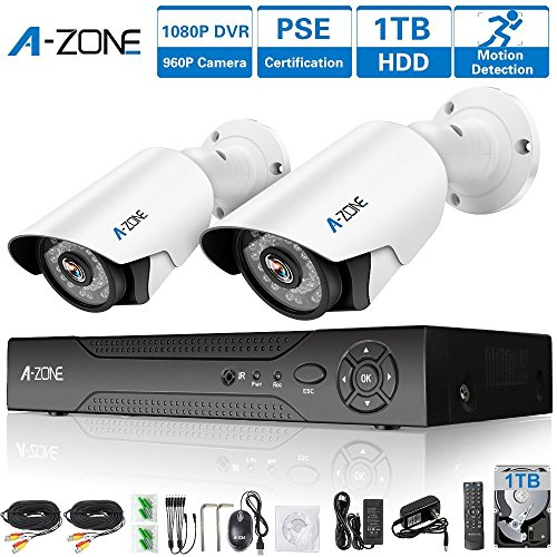 A-ZONE 4 Channel 1080P DVR AHD Surveillance Camera System W/ 2x HD 1.3MP waterproof Night vision Indoor/Outdoor CCTV Home Security Cameras, Including 1TB (4 Zone System)