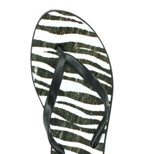 Dupé Exotica in verschiedenen Farben mit Leoparden- oder Zebra-Print, Dupe Zehentrenner, Gummi, SALE! schwarz-weiss