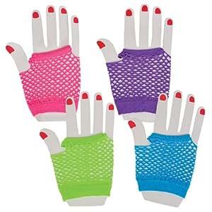Assorted Fingerless Diva Fishnet Wrist Gloves - short - 1 Dozen Pairs