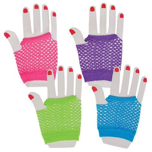[Assorted Fingerless Diva Fishnet Wrist Gloves - short - 1 Dozen Pairs] (Fishnet Gloves)