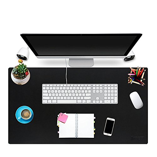 NPET Leather Desk Pad, 31 x 17 Desk Pad  Protector Mouse Pad, Extended Large Pad with Non Slip Rubber Base for Desktop, Laptop